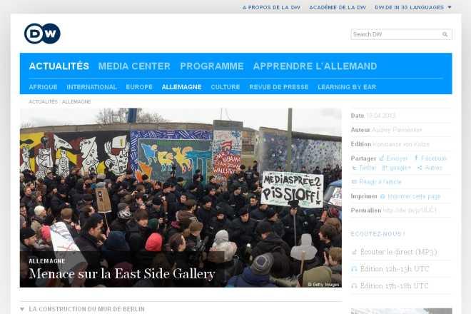 Menace sur la East Side Gallery  Allemagne  DW.DE  19.04.2013